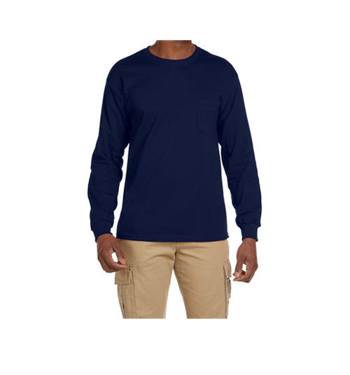 MENS COTTON ROUND NECK FULL SLEEVE T-SHIRT WITH POCKET
